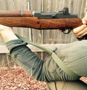 M1 Garand looped with shooting sling to improve aim