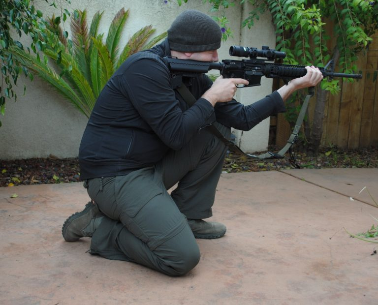 Kneeling position, the rear foot is the anchor for natural point of aim