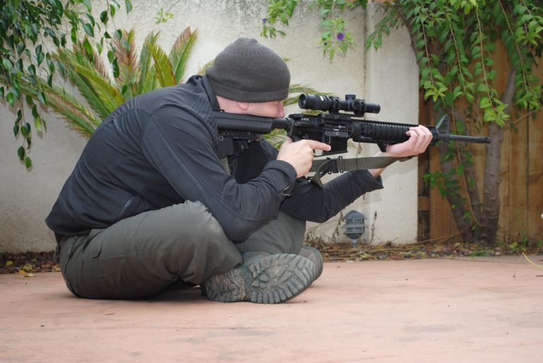 The marksman using the crossed leg position