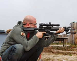 The author shooting his own recce rifle