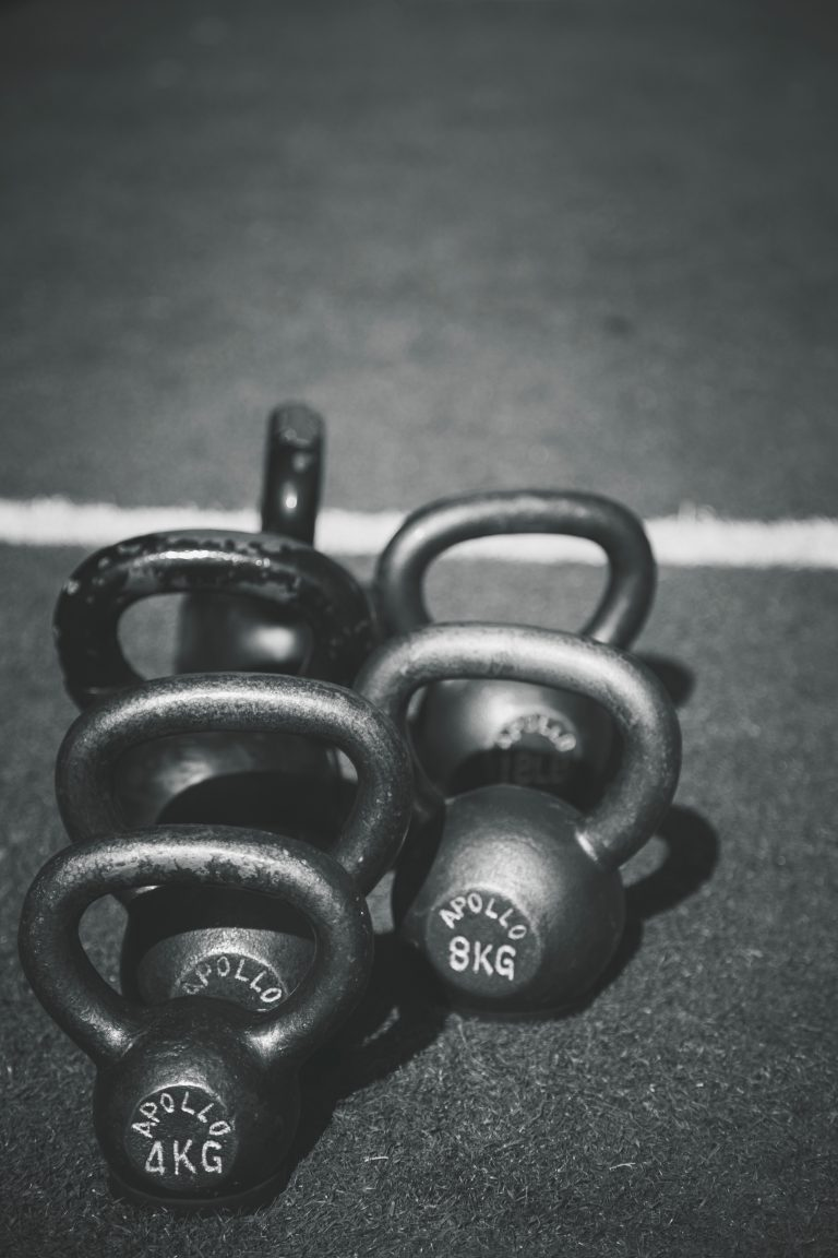 Kettlebells, a common tool when building tactical fitness