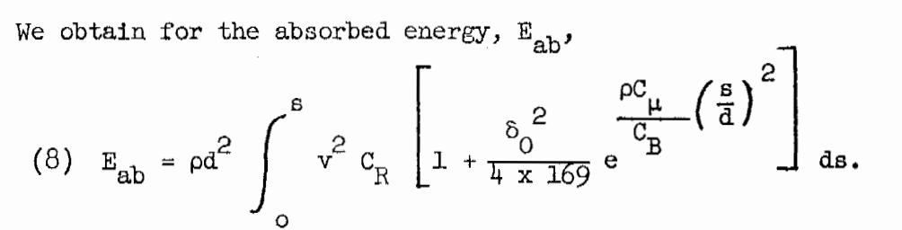 r.h. kent ballistic formula for kinetic energy absorption