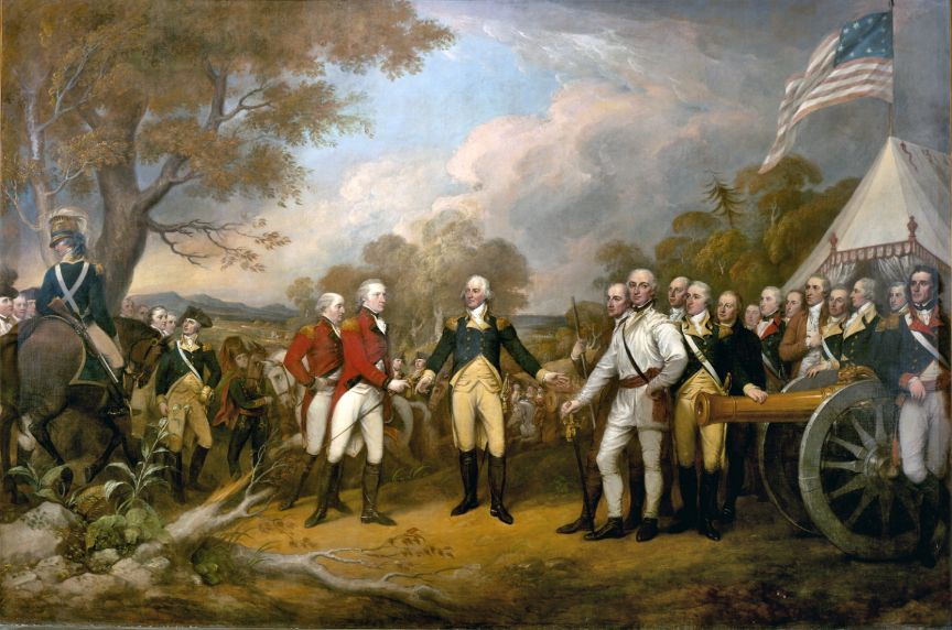 Surrender of General Burgoyne to General Gates, Daniel Morgan appears in front dressed in white