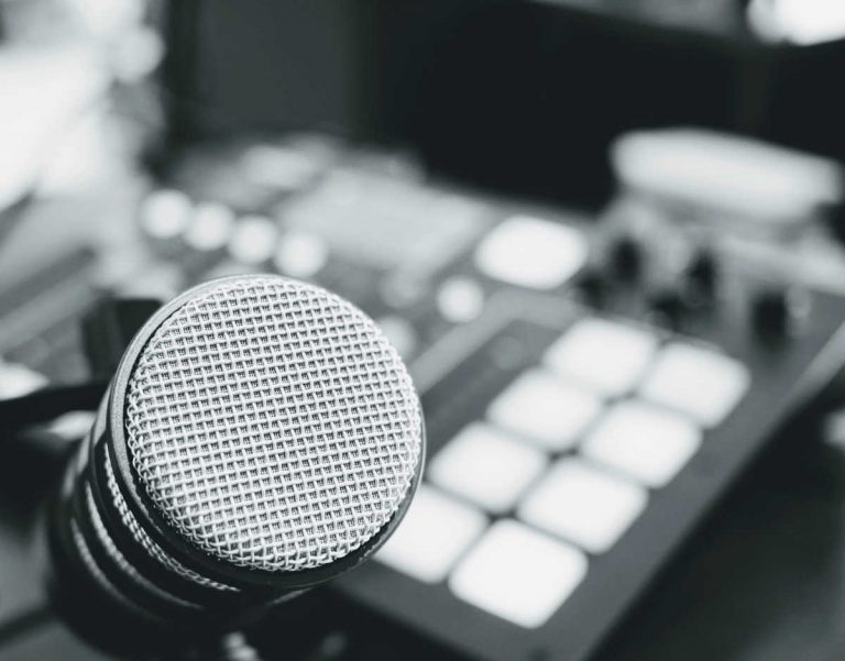podcast mic and mixer